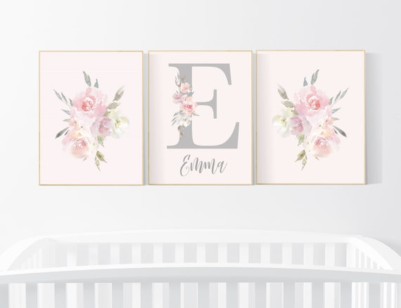 Nursery decor girl floral, blush nursery, nursery decor girl flowers, nursery decor boho, floral nursery prints, nursery decor girl name