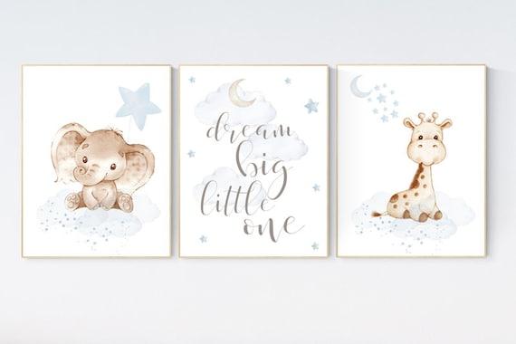 Nursery wall art animals, baby room decor blue gray, baby room decor, elephant, giraffe, animal nursery decor, nursery prints