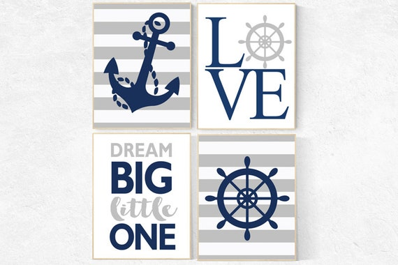 Nursery decor boy nautical, nautical nursery, navy and gray nursery, boys room decor, navy grey, nautical nursery wall art, navy nursery