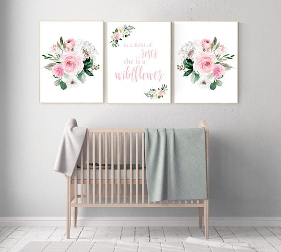 Nursery decor girl floral, nursery decor flower, nursery decor girl pink, flower nursery, In a field of roses she is a wildflower, elegant