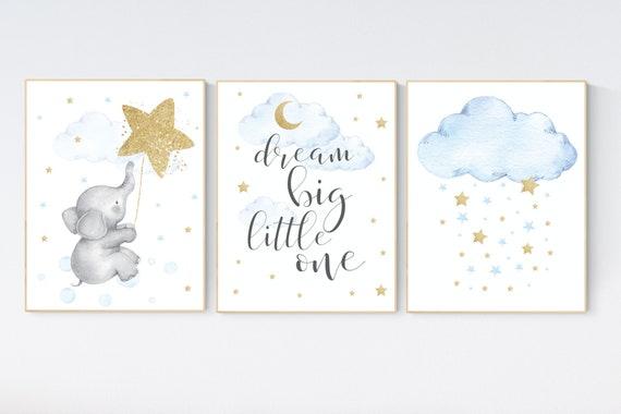 Nursery decor boy elephant, blue and gold nursery, dream big little one, blue nursery wall art, cloud and stars, baby room decor