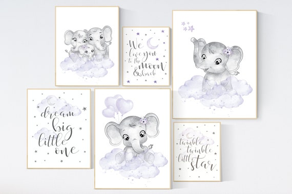 Nursery wall art purple, elephant, nursery decor, purple nursery print, nurser decor girl, lilac lavender, moon and back, girl nursery