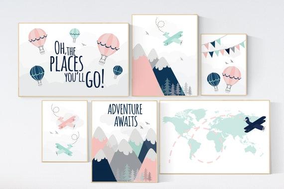Adventure awaits nursery, Mountain art print set, coral navy mint, Adventure nursery,  coral mint girl, airplane, world map, hot air balloon