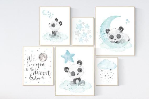 Panda nursery, teal nursery decor, gender neutral prints, teal nursery wall art, panda prints, animal nursery wall art, neutral nursery