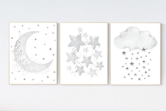 CANVAS LISTING: Canvas Prints, Nursery wall art grey, gray nursery, nursery decor neutral, baby room decor gender neutral, moon and stars