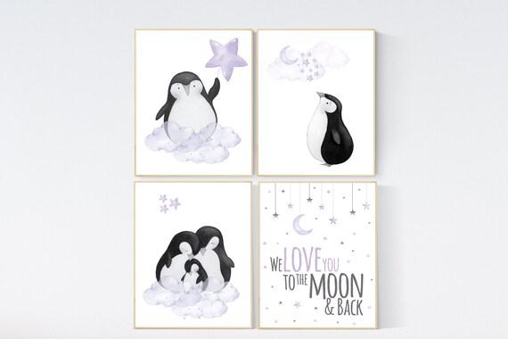 Penguin nursery, cloud and stars, purple nursery art. baby room wall art, nursery wall art penguin, lilac, lavender, nursery wall art