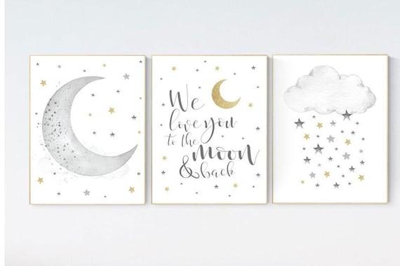 CANVAS PRINTS:  Nursery wall art grey, gray gold nursery, nursery decor neutral, baby room decor gender neutral, moon and stars
