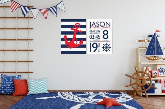Nursery decor boy nautical, navy nursery decor, baby birth stats, Nautical decor, ocean nursery, under the sea nursery, navy red