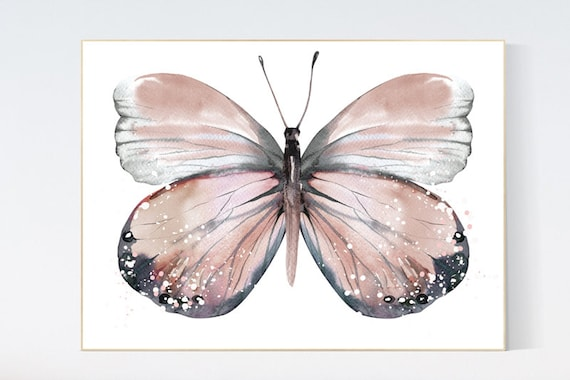 Nursery decor girl butterfly, blush, blush pink, Butterfly Nursery Art, girls room, butterfly prints, Butterfly Art, blush pink, neutral