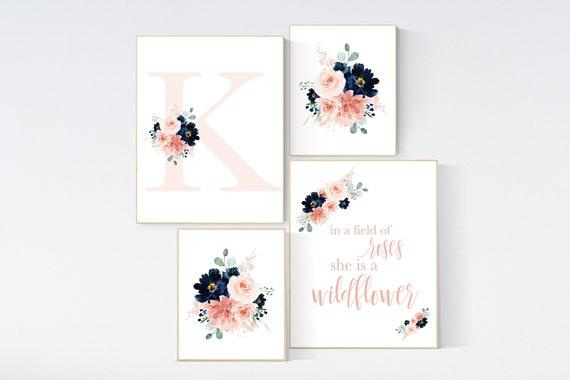 Blush navy flowers, nursery decor girl flower, nursery decor girl floral, blush navy flowers, navy and blush pink, Monogram, girl nursery