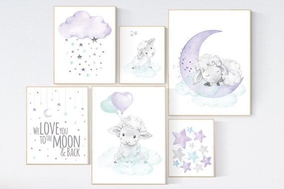 Nurser decor girl, Purple mint nursery wall art, sheep nursery, lamb nursery, Nursery wall art, lilac nursery print, lavender, lilac mint