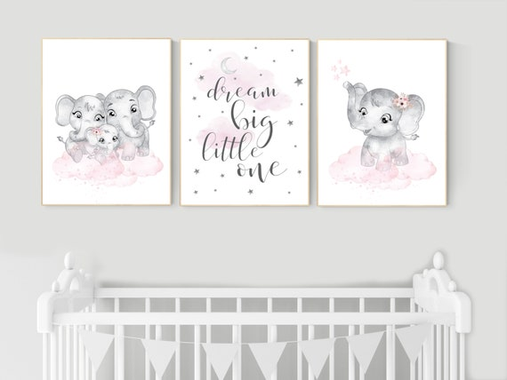 Elephant nursery, nursery wall art girl pink and gray, nursery decor girl, dream big little one, pink nursery, animal prints, girl nursery
