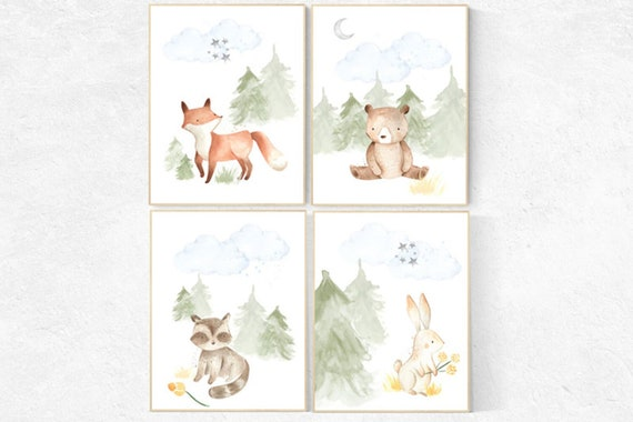 Canvas listing: Woodland nursery decor, nursery wall art woodland animals, forest animal prints, gender neutral nursery art, nursery prints
