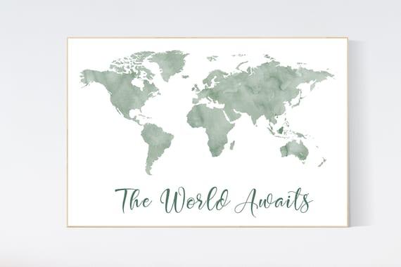 World map nursery, green world map, world map wall art nursery, nursery wall art world map, sage green, olive green, wall decor, map print