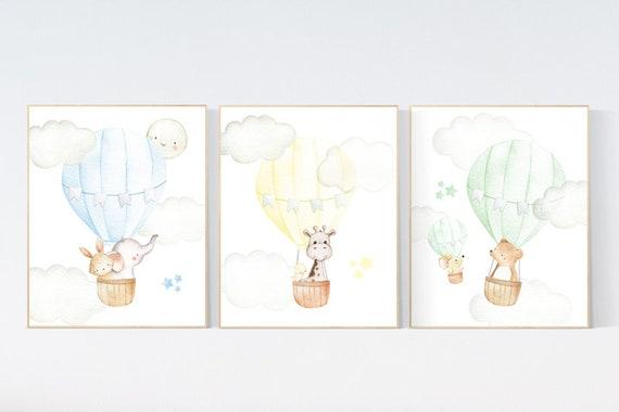 Nursery decor animals, hot air balloon, elephant giraffe, bear, gender neutral, nursery decor twins, animal nursery, neutral, unisex