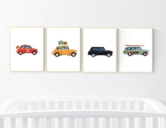 nursery decor boy cars, car nursery wall art, boys room decor cars, vintage cars print, nursery wall art boy car, transportation wall art