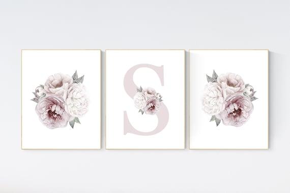 Nursery decor girl flower, floral nursery, peony nursery, Dusty Rose, peony flower, girl nursery wall decor, set of 3 prints, name print