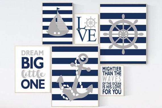 Nautical boy nursery, nursery decor boy nautical baby room, navy nursery, navy grey nursery, nautical nursery wall decor, navy and gray