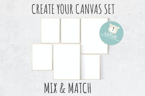 Create your own CANVAS set, Mix and match! Custom nursery decor, canvas nursery, set of 6 canvas prints nursery decor girl nursery decor boy
