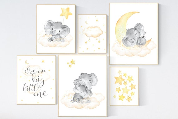 Canvas Listing: Nursery decor elephant, yellow grey nursery wall art, moon and stars, yellow nursery, gender neutral, twin nursery