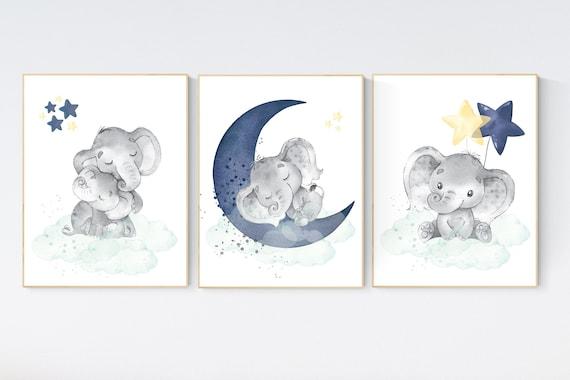 Elephant nursery, Navy and mint yellow nursery decor, navy mint nursery art, baby room wall art, boy nursery decor, nursery prints boy