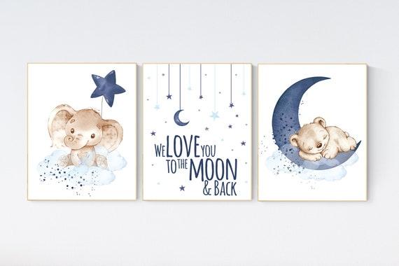 Nursery wall art animals, baby room decor navy blue, baby room decor, elephant, bear, animal nursery decor, nursery prints, elephant nursery