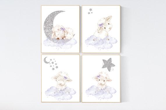 Sheep nursery decor, nursery decor lambs, lavender silver nursery decor, nursery wall art sheep, cloud and star, girl nursery