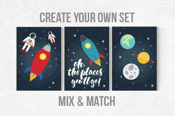 Oh the places you'll go, Space nursery decor, baby boy nursery, outer space nursery, space print, Space themed nursery, nursery prints, boy