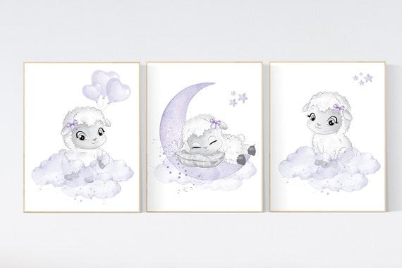 Nursery decor girl purple, Sheep nursery decor, purple nursery, Nursery decor girl, nursery wall art sheep, lavender nursery, girl nursery