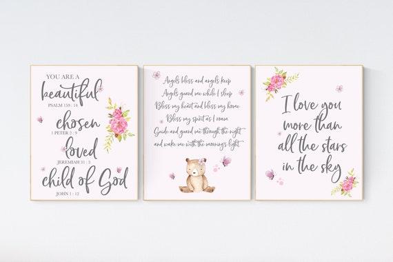 Nursery wall art girl, pink nursery, quote prints, woodland animals, pink nursery wall art, girl nursery decor, nursery quotes