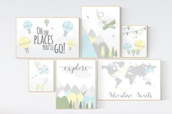 Adventure nursery decor, nursery decor airplane, world map, adventure awaits, yellow blue green nursery, travel theme, gender neutral