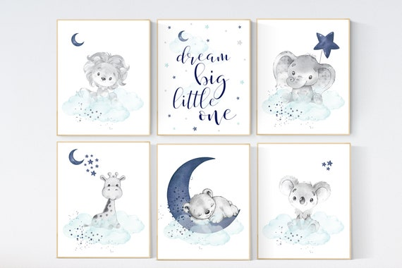 Animal prints, nursery decor boy elephant, giraffe, koala, lion, bear, boy nursery decor, moon and stars, navy teal nursery, boy nursery