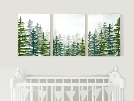 Nursery decor boy mountain, woodland nursery, adventure theme nursery, woodland, gender neutral, forest nursery, mountains, forest, tree