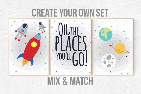 Space nursery decor, kids room decor, baby boy nursery, outer space nursery, space print, Space themed nursery, nursery prints, neutral