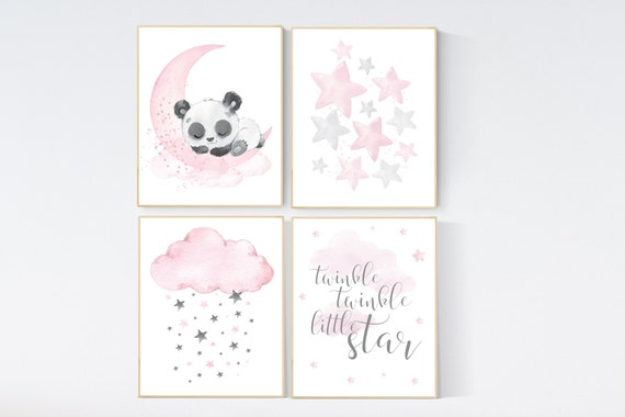 Nursery decor girl pink and gray, bear nursery, nursery decor girl pink, twinkle twinkle little star, moon and star nursery, teddy bear