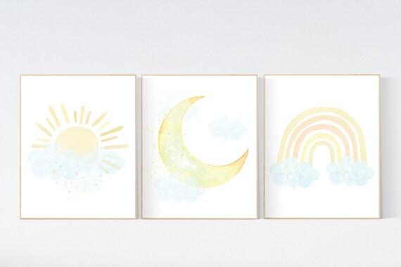 Watercolor Sun Moon and Star Wall Art Prints for Gender Neutral Nursery or Outer Space Nursery