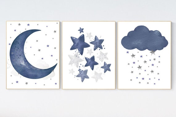 CANVAS LISTING: Canvas Prints, Navy nursery decor, cloud and stars, moon and stars, navy blue nursery art. baby room wall art