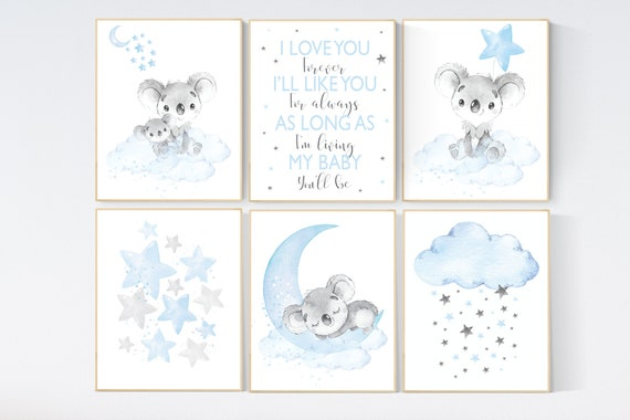 Nursery wall art koala, baby blue nursery, Animal nursery wall art, koala decor for nursery, blue grey elephant, boys nursery, set of 6