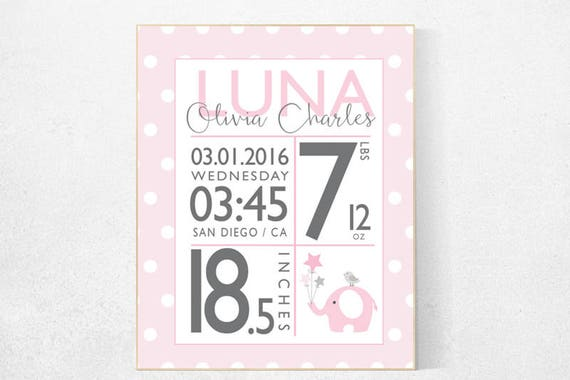 CUSTOMIZE! Girl birth announcement nursery decor, pink nursery decor, nursery prints, baby birth print, pink and gray, baby stats gift ideas