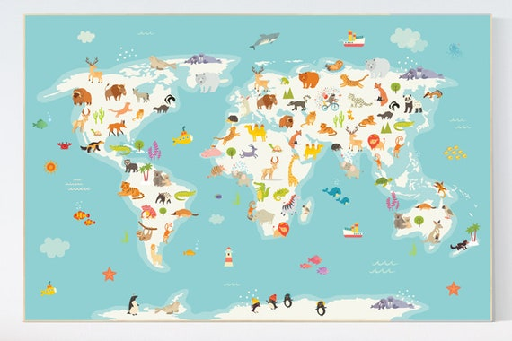 Animal map nursery, Animal world map, Nursery world map, Animals map, animal map of the world, gender neutral nursery, animals of the world