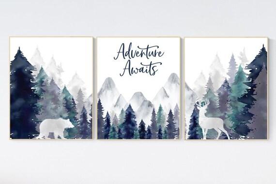 CANVAS LISTING: Nursery decor woodland, mountain wall art, tree nursery decor, adventure theme nursery, forest, navy and teal