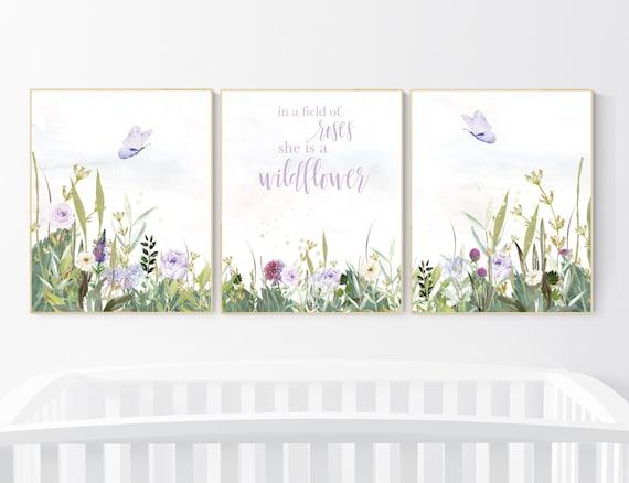 Nursery decor girl floral, butterfly, purple nursery, flower Nursery Art, Girl Nursery Art, lilac nursery, lavender