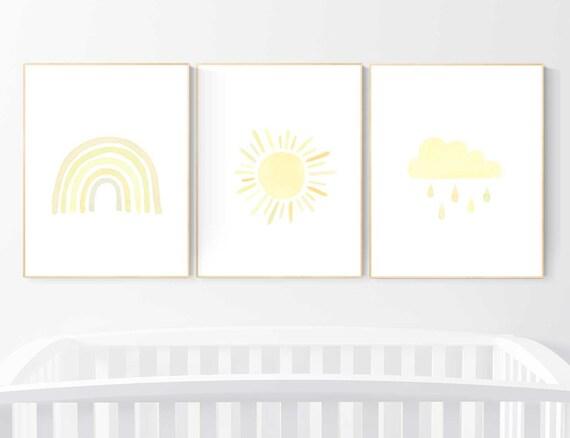 Nursery prints rainbow, Nursery decor gender neutral, nursery wall art neutral, yellow nursery, moon star, cloud, nursery wall art, rainbow