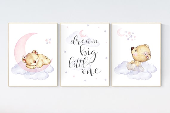 CUSTOM LISTING: Canvas Prints, Nursery decor bear, dream big little one, pink and purple, girl nursery wall decor