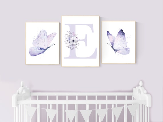 Nursery decor girl butterfly, nursery decor purple, nursery decor girl lilac, Butterfly Nursery Art, Girl Nursery Art, Butterfly Wall Art