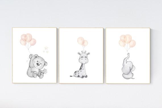 nursery decor girl blush gray, Animal nursery, nursery decor girl woodland animals, teddy bear, elephant, giraffe, baby girl nursery prints