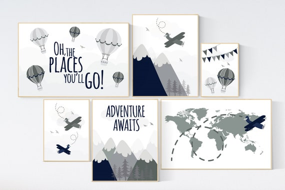 Adventure nursery decor, nursery decor boy adventure, nursery decor boy airplane, world map nursery, adventure awaits, oh the places