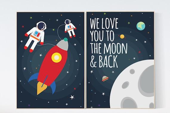 We love you to the moon and back, Space nursery decor, boys room wall art, baby boy, moon print, playroom decor, kids room, space decor