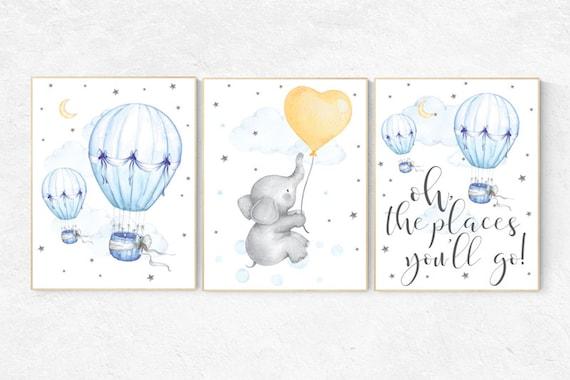 Nursery art neutral, hot air balloon nursery, gender neutral, Oh the places you'll go, moon and stars, baby room decor, nursery prints