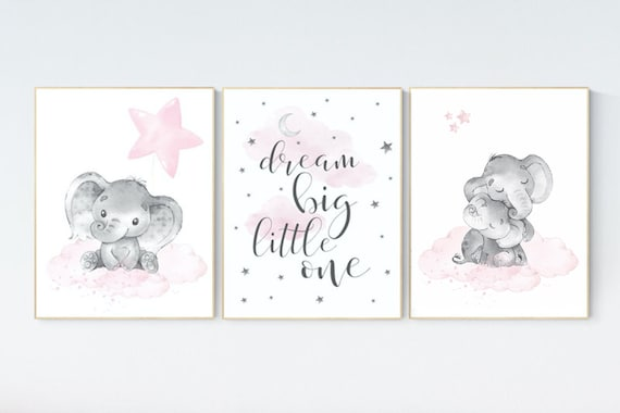 Nursery decor elephant, nursery decor girl elephant, moon and stars, baby room decor girl, nursery prints girl, dream big little one